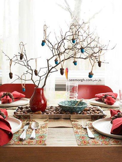 دکوراسیون اتاق غذاخوری با میوه بلوط و برگهای پاییزی